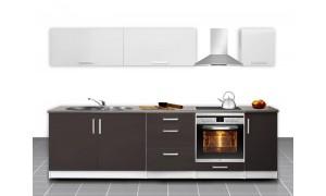 Küche Mel 280cm Braun-Weiß