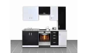 Küche Otylia 220cm Schwarz-Weiß