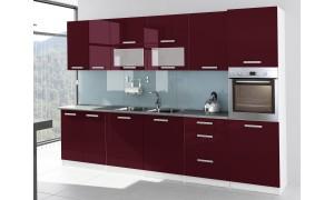 Küche Tess 320cm Bordeauxrot