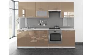 Küche Toro mit Glastür 260cm Cappuccino