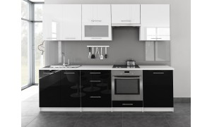 Küche Toro mit Glastür 260cm Weiß-Schwarz
