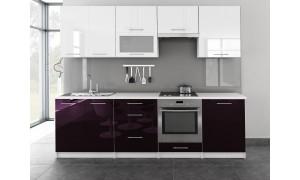 Küche Toro mit Glastür 260cm Weiß-Violett