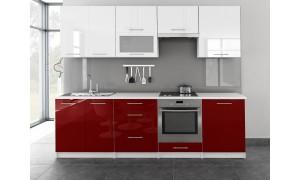 Küche Toro mit Glastür 260cm Weiß-Rot