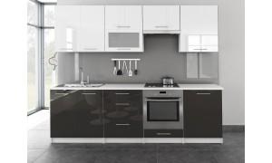 Küche Toro mit Glastür 260cm Weiß-Grau