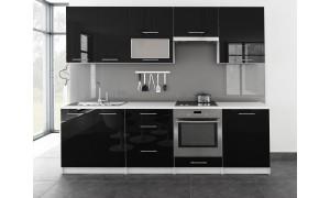 Küche Toro mit Glastür 260cm Schwarz