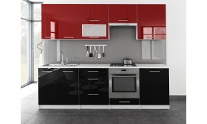 Küche Toro mit Glastür 260cm Rot-Schwarz