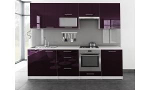 Küche Toro mit Glastür 260cm Violett