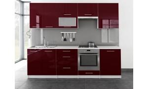 Küche Toro mit Glastür 260cm Bordeauxrot