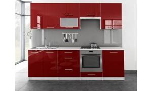 Küche Toro mit Glastür 260cm Rot