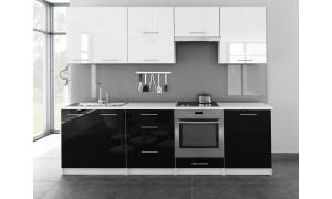 Küche Toro 260cm Weiß-Schwarz