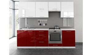 Küche Toro 260cm Weiß-Rot