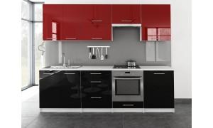 Küche Toro 260cm Rot-Schwarz